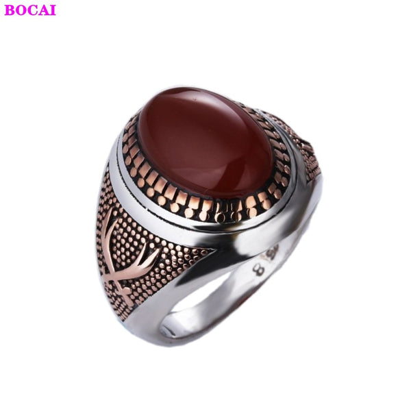New 925 sterling silver jewelry trendy men fashion black stone ring atmospheric Thai silver retro inlaid zircon men's ring