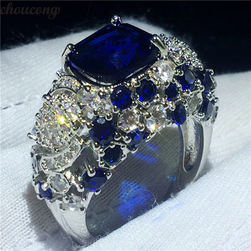 choucong Vintage Big Flower Ring 925 Sterling Silver AAAAA Zircon cz Engagement Wedding Band Rings For Women Party Jewelry Gift