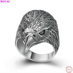 BOCAI S925 sterling silver jewelry ring Thai silver personality creativity aggressive Eagle Head men's index finger ring for men