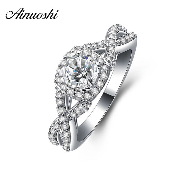 AINUOSHI 925 Sterling Silver Promise Engagement Rings for Women Wedding Ring Jewelry Female Fashion Engagement Ring