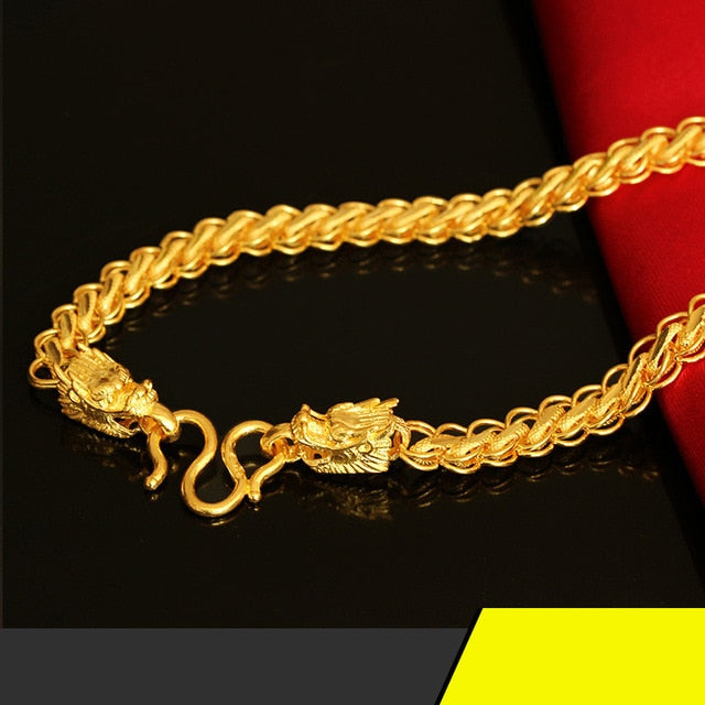 RN 24K Pure Gold Necklace Real AU 999 Solid Gold Chain Men's Fashion Faucet Upscale Trendy Classic  Jewelry Hot Sell New 2020