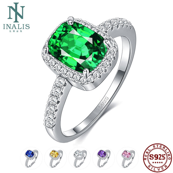 INALIS 6 Colors Real Sterling Silver 925 Jewelry Emerald Gemstone Rings For Women New Fashion Wedding Party Ring With 5A Zircon