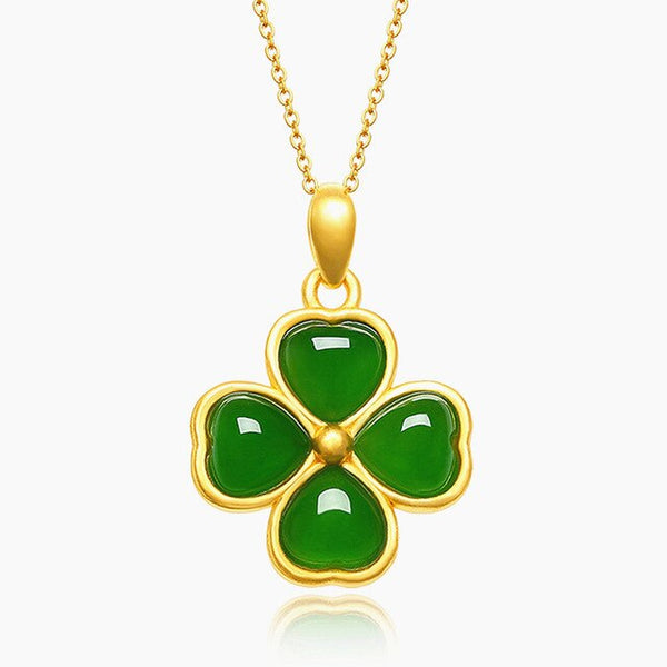 Classical clover green jade gemstones 18k gold color pendant necklaces for women choker chain jewelry bijoux bague birthday gift