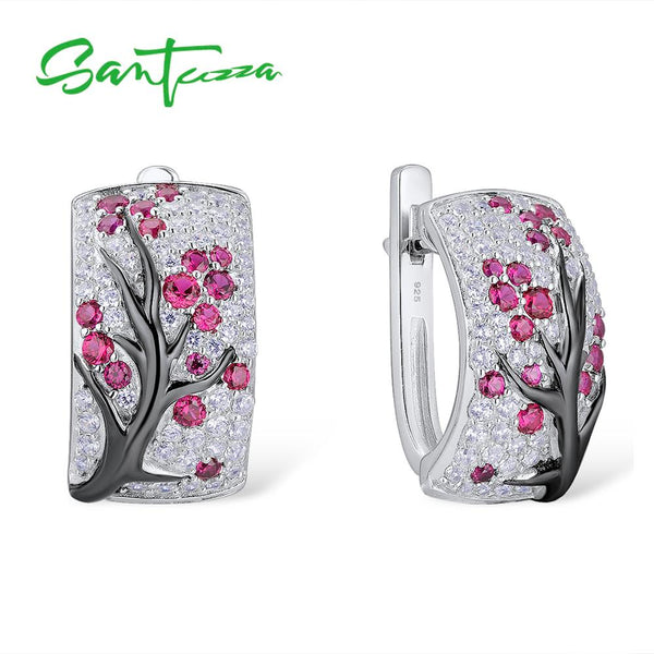 SANTUZZA Silver Earrings For Women Pure 925 Sterling Silver Pink Cherry Sparkling Cubic Zirconia brincos  Fashion Jewelry