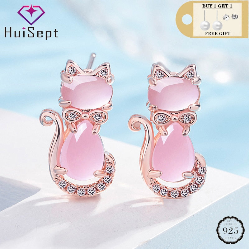 HuiSept Trendy 925 Silver Earrings Cat Shape Pink Rose Quartz Zircon Gemstones Jewelry Stud Earrings for Women Wedding Wholesale
