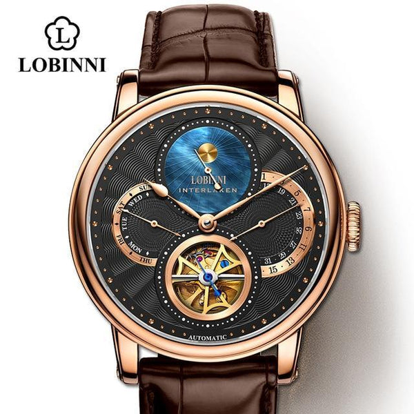 LOBINNI Rome dial watches mens 2020 relogio masculino Automatic gear Mechanical Brands steel orologio Leather Cost wrist watch