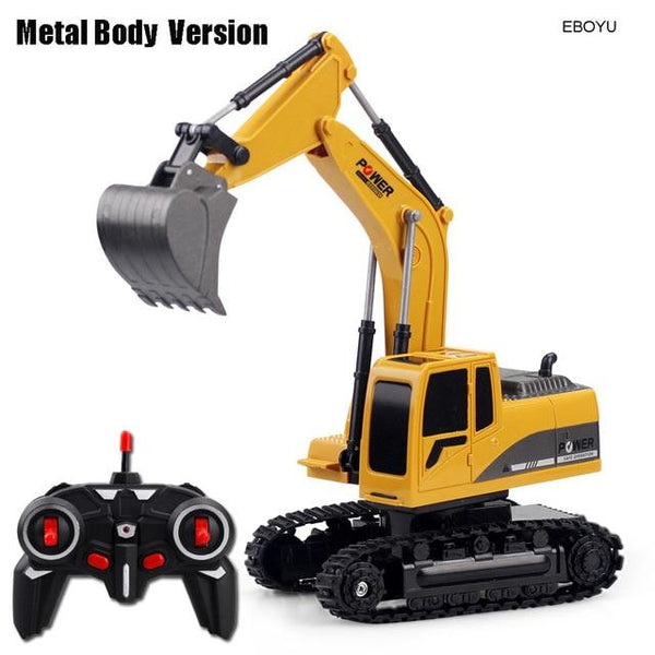EBOYU 258-1 2.4Ghz 6CH 1:24 RC Excavator Mini RC Truck Rechargeable Simulated Excavator Gift Toy for Kids