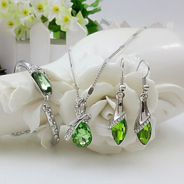 Women's 925 Sterling Silver Necklace Earrings Set Gifts Beautiful Drops Austria Crystal Bridal Wedding Jewelry Set S0103
