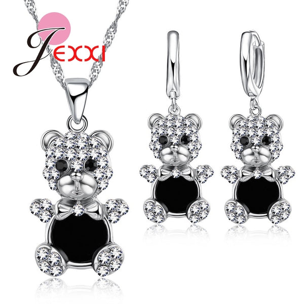 925 Sterling Silver Jewelry Sets Wear Clothes Bear Shape Pendant Necklace & 1 Pair Hoop Drop Earrings Anniversary Gift