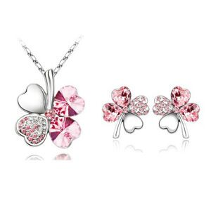 Exquisite Water Drop Austria Crystal Pink 925 Sterling Silver Necklace Earrings Gift, Pendant Wedding Jewelry Set Women's S0132