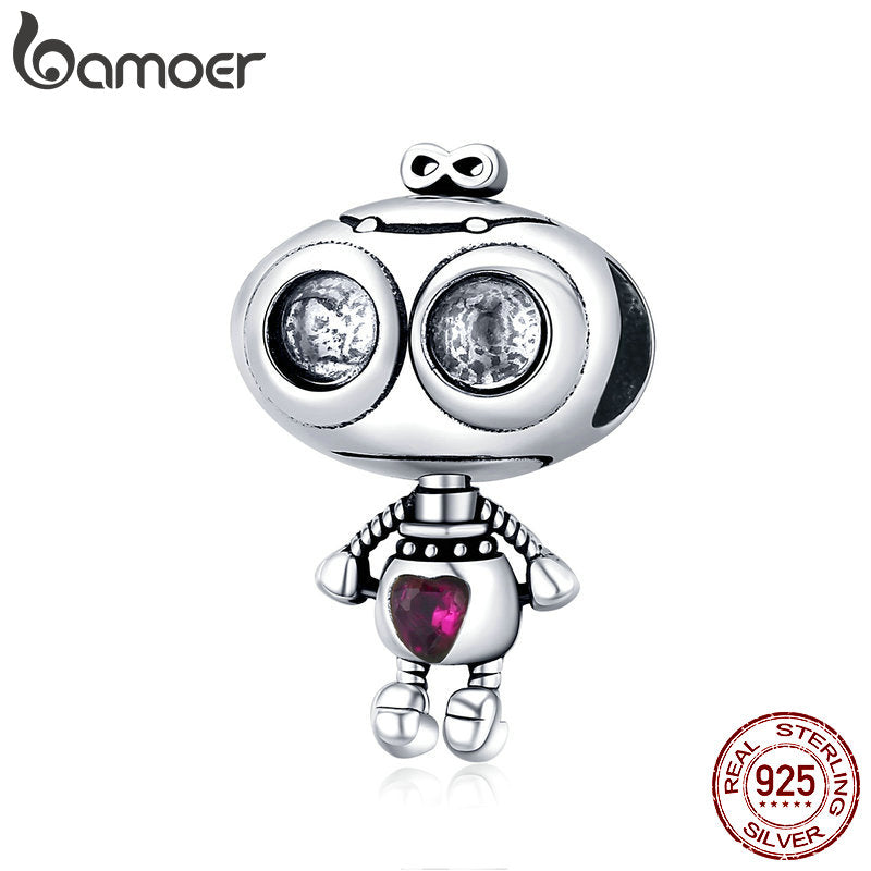 bamoer Genuine 925 Sterling Silver Fall in Love Robot Metal Beads for Women Charm Bracelets Original Design Jewelry SCC1524