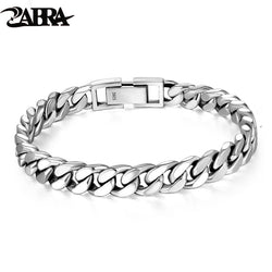 ZABRA Real 925 Sterling Silver Bracelet Mans 8mm Width Link Rock Fashion Chain Bracelets For Man Jewelry Gift