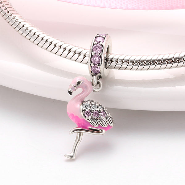 Hot 925 Sterling Silver Pink Sparkling CZ Flamingo Charms For jewelry making Pendants Fit Original Charm Pandora Bracelets