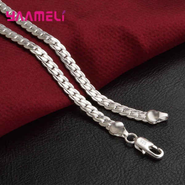 Wholesale Fashion  Men's Hiphop Necklace 925 Solid Silver Classic Cuban Link Chain Wholesale Cheap Necklace for Men Jewelry Gift