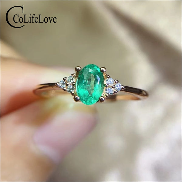 CoLife Jewelry 100% Genuine Emerald Ring for Engagement 4*6mm Natural Emerald Silver Ring 925 Silver Emerald Jewelry