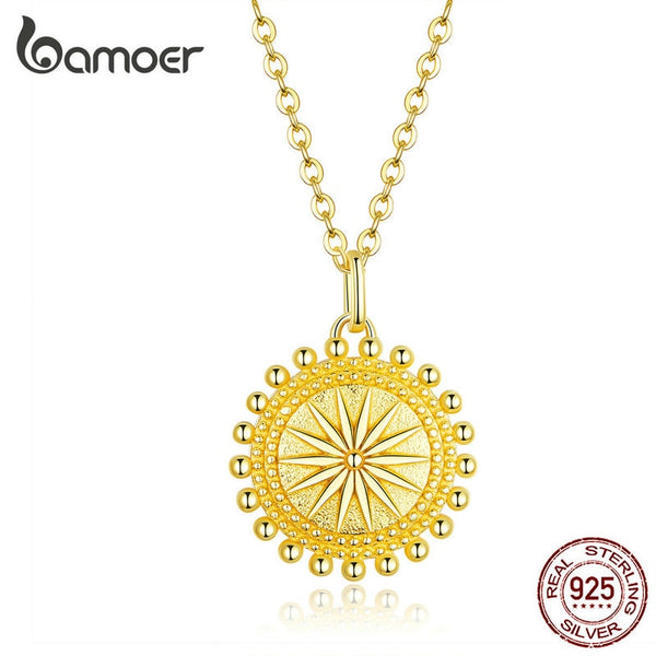 bamoer Sun Coin Pendant Neckalce for Women Gold Color Genuine 925 Sterling Silver Chain Necklaces Collier Fashion Jewelry SCN353