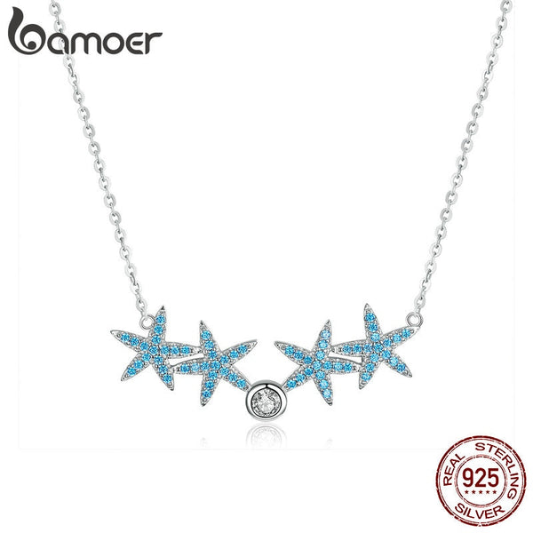 bamoer Starfish Choker Necklace for Women Sterling Silver Fashion Jewelry Blue CZ Short Necklaces 2019 New Collier Bijoux BSN064