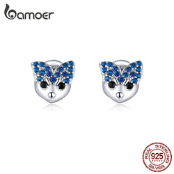 bamoer Husky Stud Earrings for Women 925 Sterling Silver Blue CZ Paved Animal Ear Pins Jewelry with Earplugs 2020 Jewelry BSE356