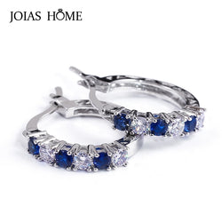 JoiasHome 925 Sterling Silver Earrings For Women With Round Sapphire  Gemstones Women Fine Jewelry  Wedding Party Wholesale