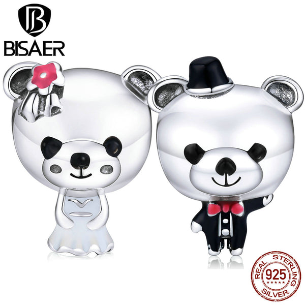 Bear Bride Beads for Jewelry Making BISAER 925 Sterling Silver Couple Wedding Bear Charms Original Silver Jewelry ECC1474