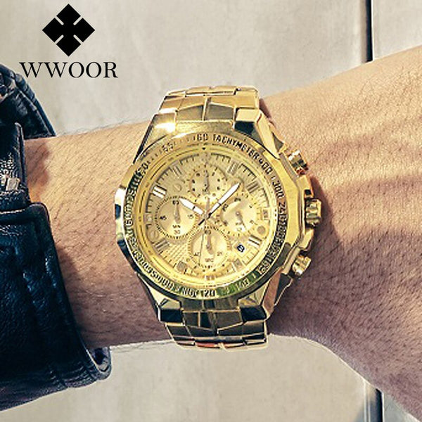 Relogio Masculino Wrist Watches Men 2020 Top Brand Luxury WWOOR Golden Chronograph Men Watches Gold Big Male Wristwatch Man 2019