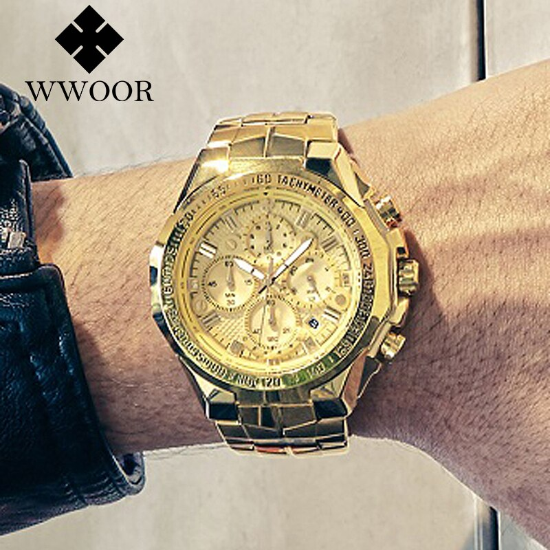 Relogio Masculino Wrist Watches Men 2020 Top Brand Luxury WWOOR Golden Chronograph Men Watches Gold Big Male Wristwatch Man 2020
