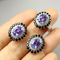 TBJ, Natural blue tanzanite Jewelry Set oval cut 7*9mm  gemstone jewelry 925 sterling silver fine jewelry for women best gift