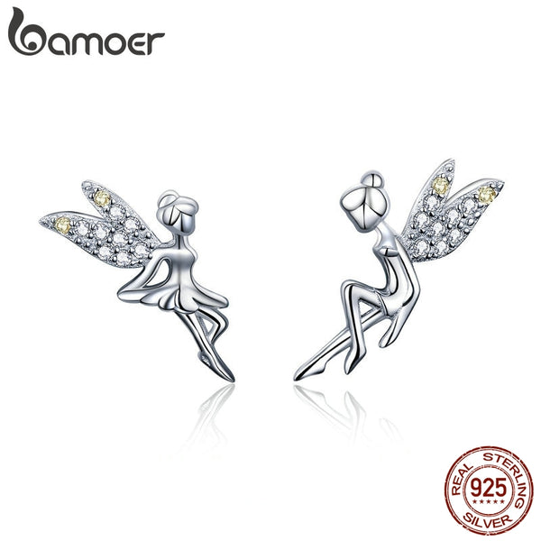 BAMOER Romantic Genuine 925 Sterling Silver Cute Fairy Elevs Exquisite Stud Earrings for Women Luxury Jewelry Making BSE046
