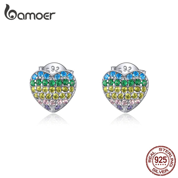 bamoer Real 925 Sterling Silver Rainbow Heart Stud Earrings for Women AAA CZ Paved Amour Ear Studs Silver Jewelry BSE358