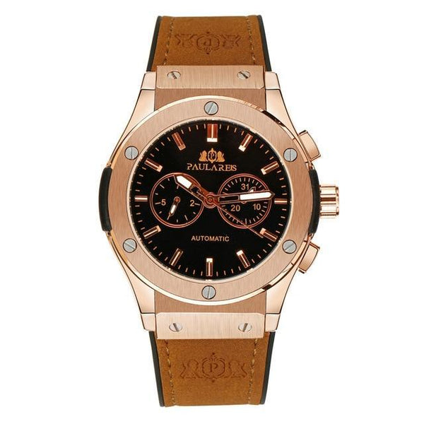 Men Automatic Self Wind Mechanical Rose Gold Silver Black Case Brown Leather Rubber Strap Casual Sports Geneve Watch
