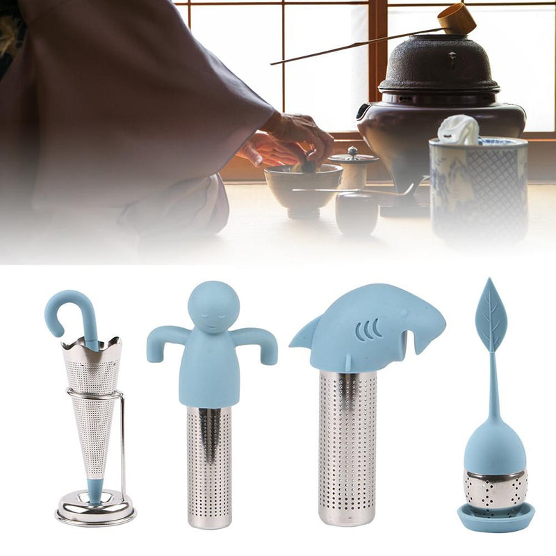 8 Style Silicone Tea Infuser Reusable Tea Strainer Sweet Leaf with Drop Tray Novelty Tea Ball Herbal Spice Filter Tea Tool