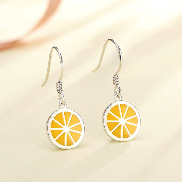POFUNUO 925 Sterling Silver Women Anti Allergy Summer Cute Drop Rings Girls Lovely Lemon Orange Fruit Charm Chic Dangle Earrings