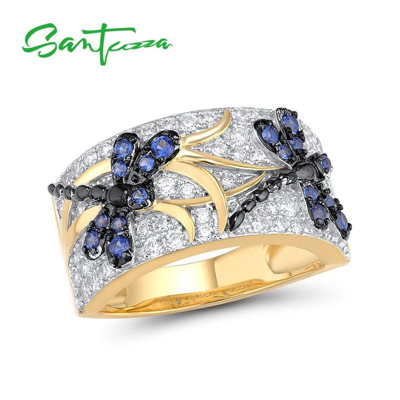 SANTUZZA Silver Rings For Woman Sparkling Blue Spinels White Cubic Zirconia Genuine 100% 925 Sterling Silver Ring Fine Jewelry