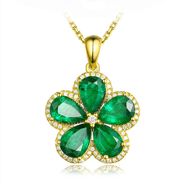 Flower green crystal emerald gemstones pendant necklaces for women 18k gold color choker jewelry bijoux bague birthday gifts