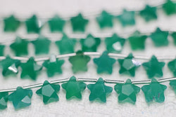 one pcs loose beads green chalcedony star shape faceted 8mm  for DIY jewelry making FPPJ wholesale beads nature gem stone