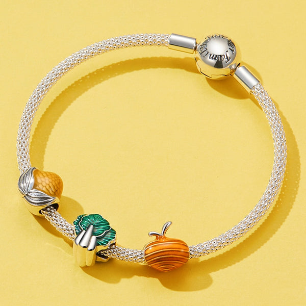 WOSTU 100% 925 Sterling Silver Lovely Vegetables Beads Corn Carrots Spinach Charms Fit Original Bracelet Pendant Jewelry FIC1411