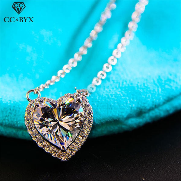 CC S925 Sterling Silver Necklaces Pendants For Women Heart Cubic Zirconia Pendant Simple Wedding Personality Jewelry CCN702