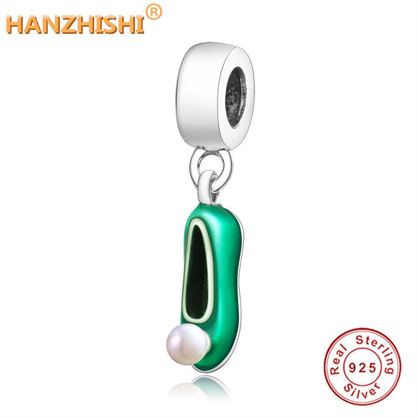 2019 Newest Tinker Bell's Shoe Pendant Charms With Green Enamel & White Pearls Fits Original Pandora Charms Bracelet DIY Jewelry