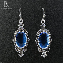 Bague Ringen Classic 925 925 sterling silver earring for charm women with sapphire gemstones women party wholesale gift