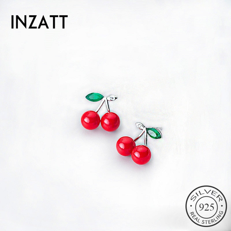 INZATT Cute Red Cherry Green Crystal Stud Earrings 925 Sterling Silver For Women Anniversary Fashion Jewelry