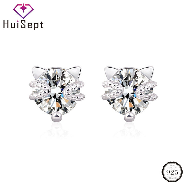 HuiSept Fashion Stud Earrings 925 Silver Jewellery Cat Shaped Topaz Zircon Gemstones Ornaments for Women Wedding Party Wholesale