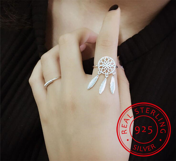 925 Sterling Silver Rings For Women Dreamcatcher Feather Tassel Resizable Rings Fine Jewelry Bague anillos S-R211