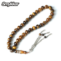 Wholesale Islamic Muslim Prayer Tiger Eye Rosarys Agate Rosary 33pcs Tesbih 10mm Beads Silver Tassel Charms Bracelet Party Gifts