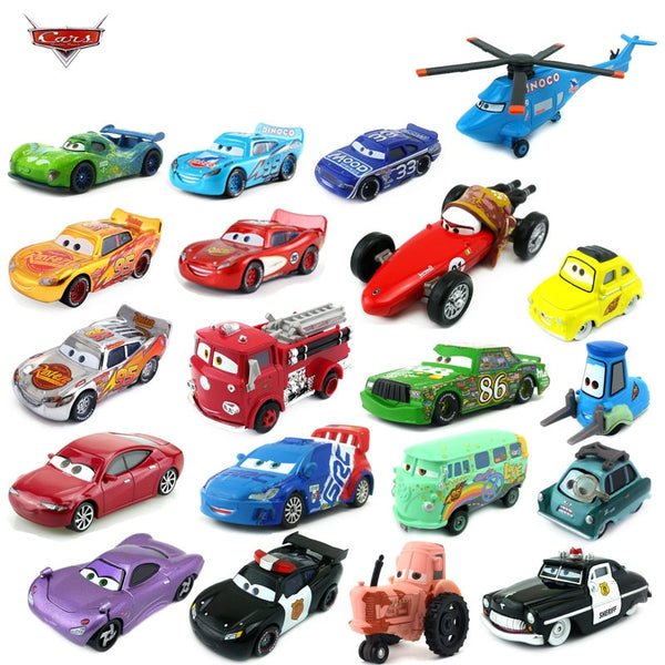 Disney Pixar Racing 3 40 style electroplated gold McQueen and Raymond 1:55 die-cast car metal alloy boy children's toy gift