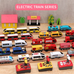 RC Electric Train Track Railway Toys Set Kid Diecast Slot Toy Car Connected with Wooden Railway Track Present Toys for Children