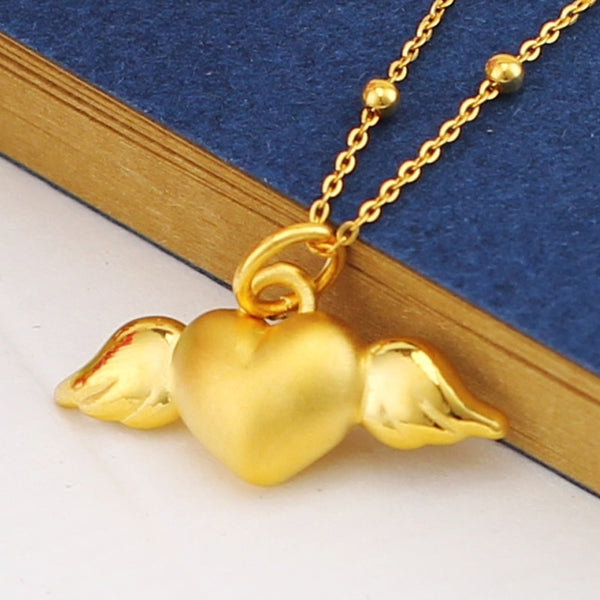 Real 999 24k Yellow Gold Pendant 3D Women Heart Angel Only Pendant 20*12mm