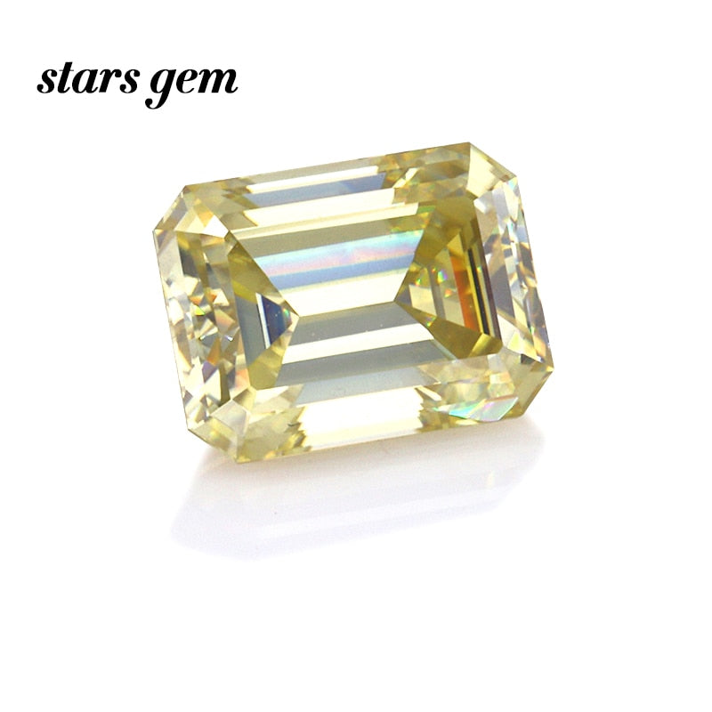 11x9mm Yellow Color Octagon Emerald Cut Loose Moissanites Gemstone for Ring Pendant Making