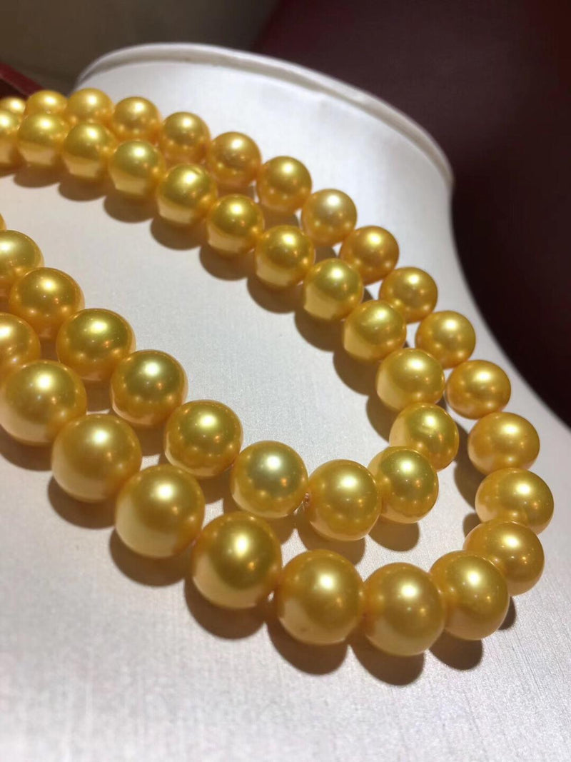 Fine Jewelry Natural Fresh Water 8-9mm Golden Edison Peals Necklaces for Women Fine Pearls Necklaces