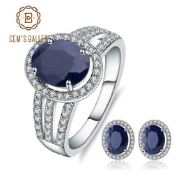 GEM'S BALLET 925 Sterling Silver Earrings Ring Set Gemstone Jewelry For Women Gift 6.06ct Oval Natural Blue Sapphire Jewelry Set