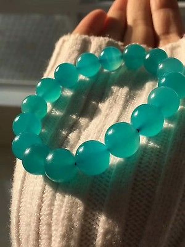 Natural Mozambique Ice Amazonite Gems Round Beads Bracelet 12mm AAAAA For Woman Man Healing Stone From Mozambique